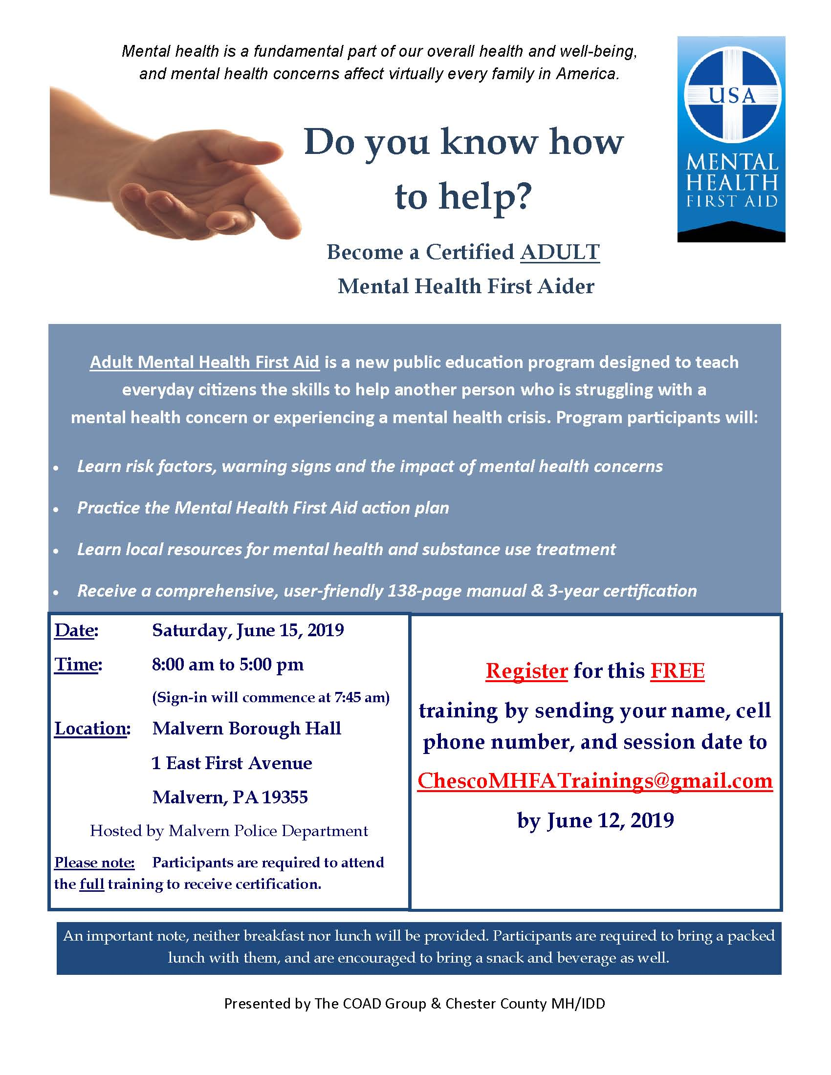 Adult MHFA Training Flyer - Malvern Borough Hall - June 2019