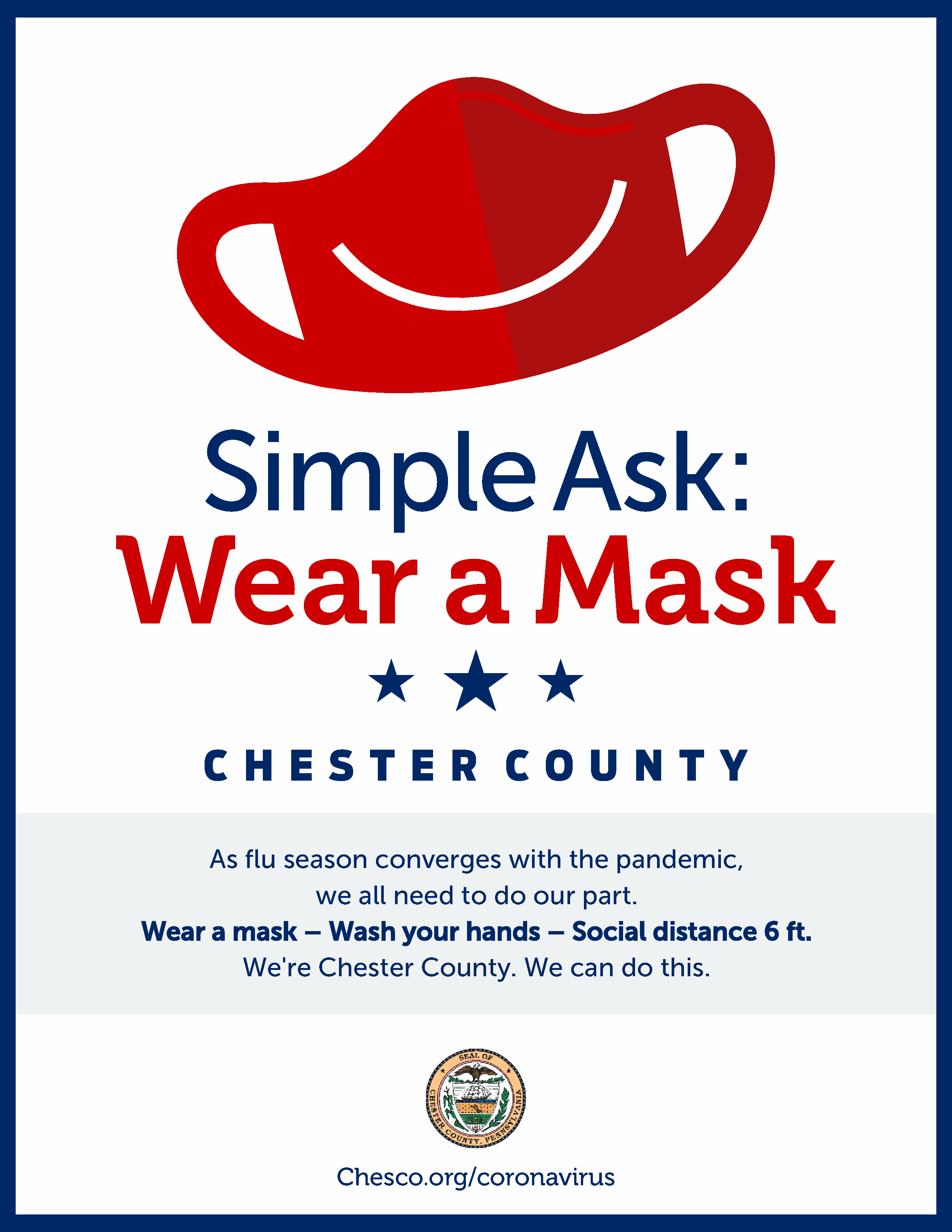Simple Ask Wear a Mask 8.5 x 11 inch Poster